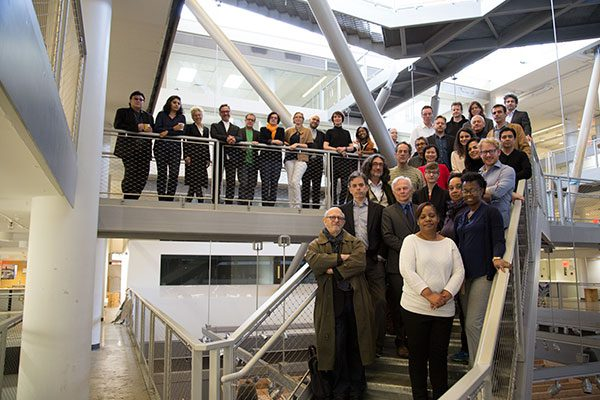 photo: Spitzer School staff and faculty on catwalks