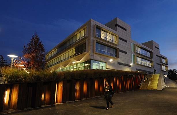 photo: Spitzer building at twilight