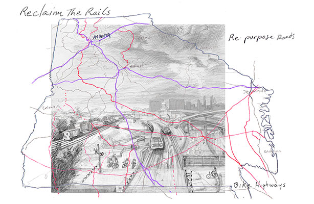 Anina Gerchick's Reclaim the Rails drawing