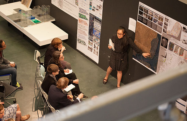 photo: MLA final review in Spitzer School Gallery