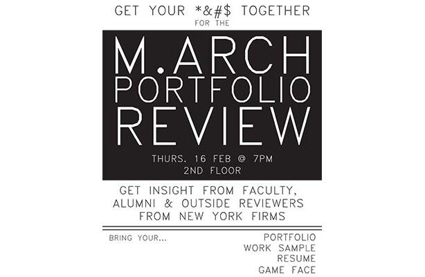poster: M Arch Portfolio Review