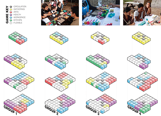"""visuals: Through the """"Block Game,"""" participants reckoned with the physical constraints of the space in an effort to reconcile their many hopes and visions for a new community center."""