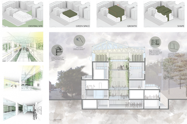 "renderings: ""Green Insert"" connected health education and new public green space"