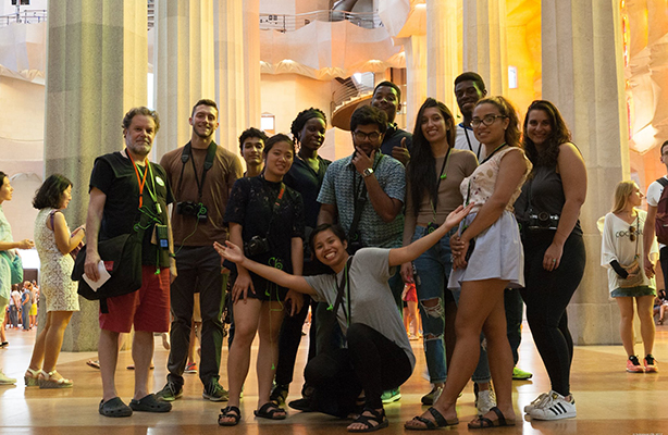 Architecture students and Professor Fabian Llonch (left) at the Basílica i Temple Expiatori de la Sagrada Família in Barcelona during their summer 2017 study abroad.