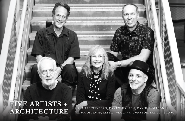 group photo of five artists with exhibit title and names