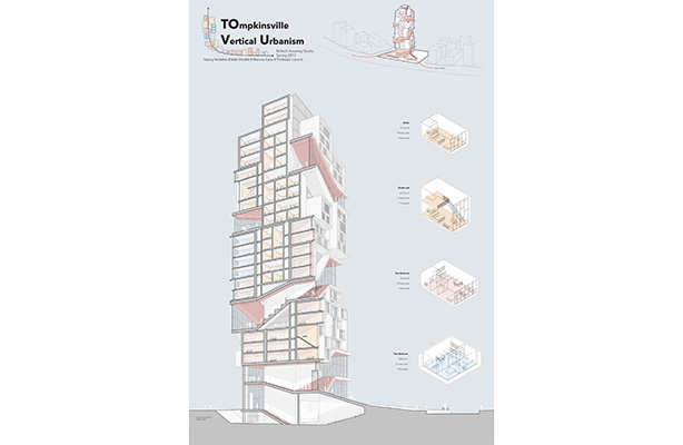 """TOVU: Tompkinsville on Vertical Urbanism"" by Marcos Gasc, Nancy Kelleher, and Matt Shufelt."