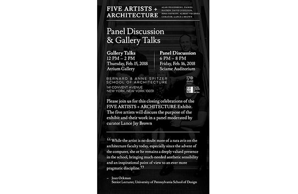 Five artists panel flyer