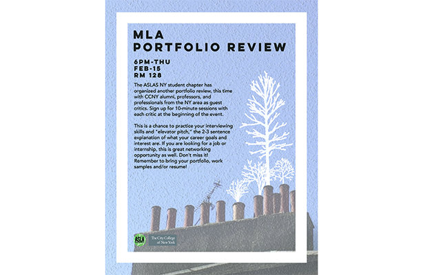 MLA porfolio review flyer