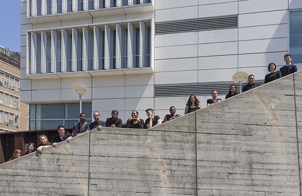 graduating class along stairway