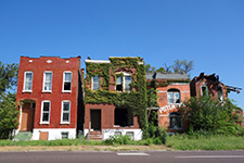 Row Houses in Varied States of Decay, 2016. St. Louis. Photograph by Joseph Heathcott.