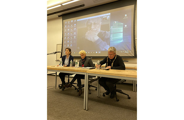 Rahul Mehrorta (on screen), Loukia Tsafoulia, Suzan Wines, and Filiep Decorte at the October 10 lecture.