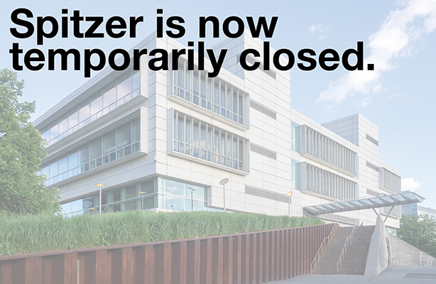 photo with text: Spitzer is now temporarily closed