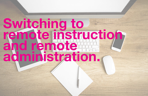 photo of equipment on desk: Switch to remote instruction and remote administration