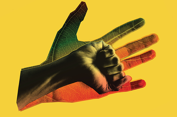 lecture series graphic - rainbow leaf hand and fist