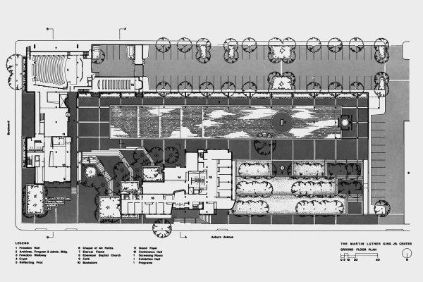Ground floor plan of the Martin Luther King, Jr. Center for Social Change in Atlanta by Bond Ryder & Associates.